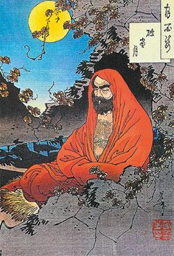 Бодхидхарма, борясь со сном, вырвал веки и бросил их на склон горы. На этом месте и вырос куст чая. Рисунок 1887 года.
